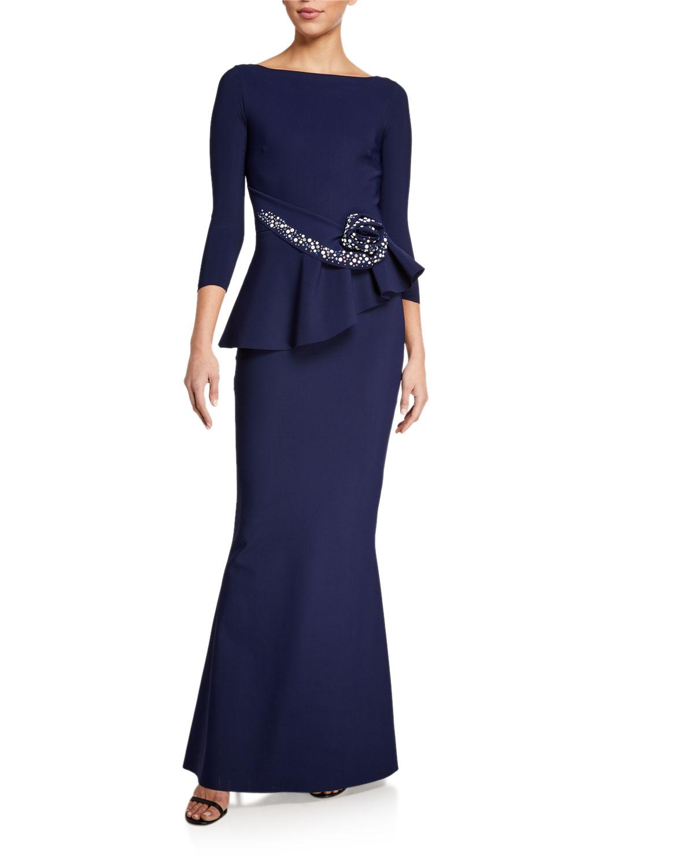 Chiara Boni La Petite Robe Gowns BOAT-NECK 3/4-SLEEVE ROSETTE PEPLUM GOWN
