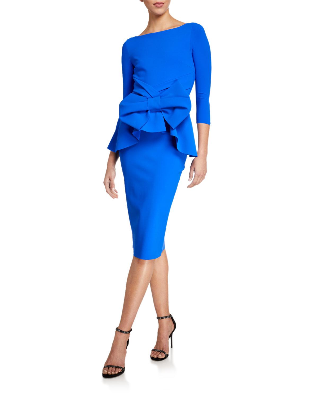 Chiara Boni La Petite Robe Dresses HIGH-NECK 3/4-SLEEVE PEPLUM DRESS W/ BOW DETAIL