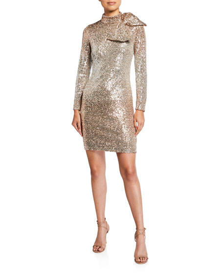 Love Theia Sequin Mock Neck Long Sleeve Sheath Dress