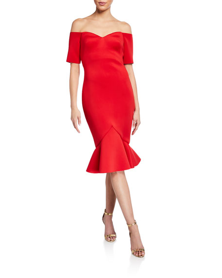 Badgley Mischka Collection Off-The-Shoulder Flounce-Hem Dress