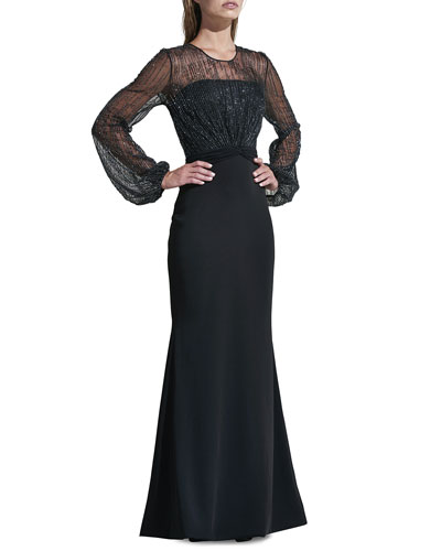 Beaded Yoke Long-Sleeve Illusion Gown