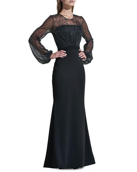 Rene Ruiz Beaded Yoke Long-Sleeve Illusion Gown