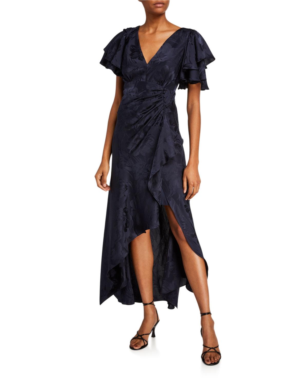 Tanya Taylor Dresses CLEMENTINE FLUTTER-SLEEVE SILK JACQUARD DRESS