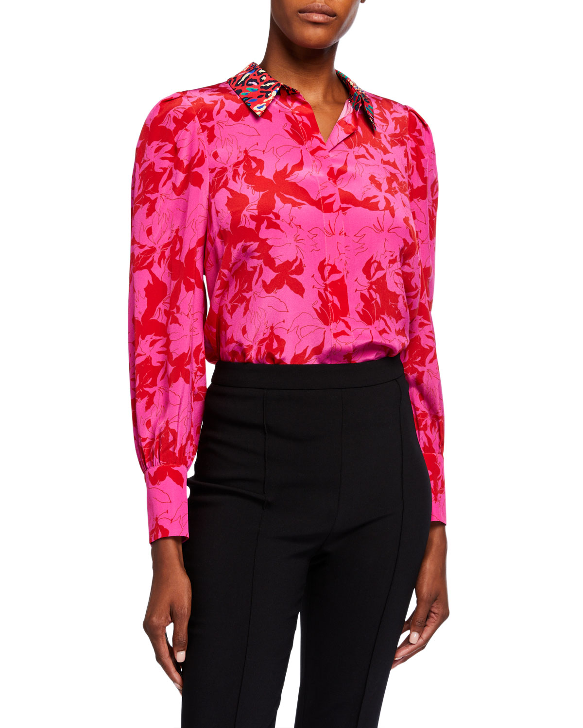 Tanya Taylor Tops DOMINIQUE PRINTED BUTTON-DOWN TOP