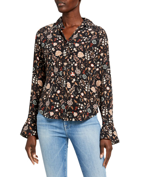FRAME Ruffle 70s Floral Button-Down Silk Top
