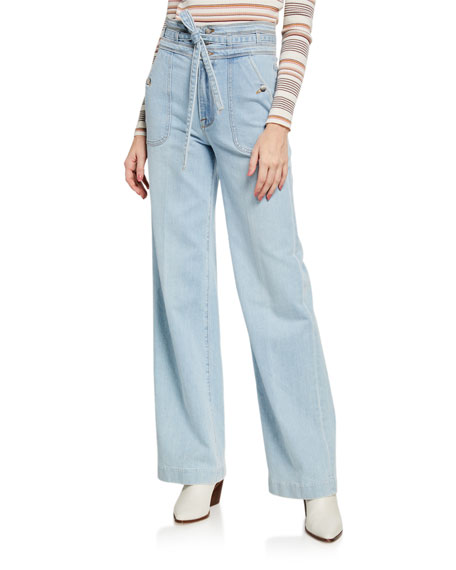 FRAME Ali Triple-Waist Wide-Leg Light Wash Jeans
