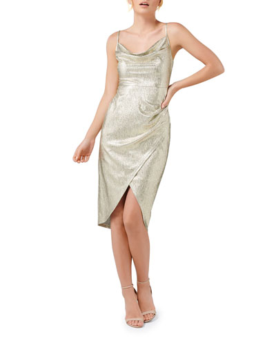 Metallic Jersey Cowl-Neck High-Low Slip Dress