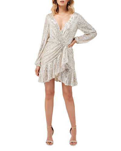 Cece Sequin Puff Sleeve Short Asymmetric Wrap Dress