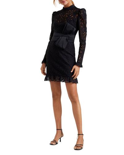 Mock Neck Long Sleeve Lace Mini Dress w/ Bow