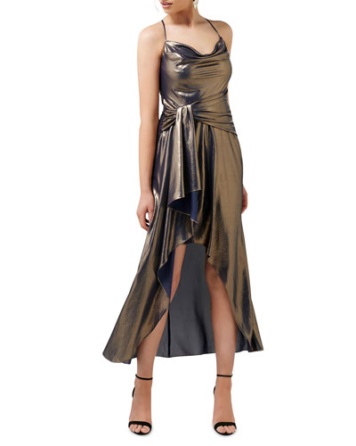 Metallic Cowl Neck Crossback High-Low Side Drape Dress