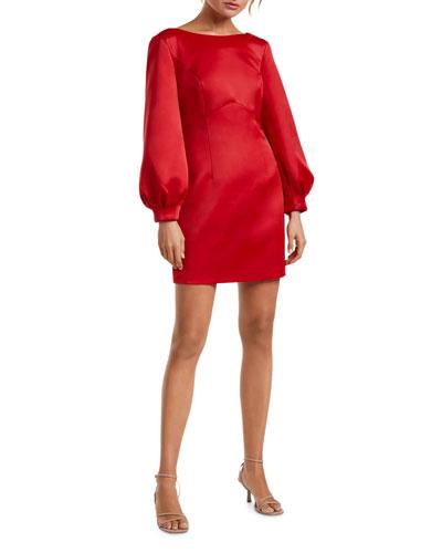 Puffed Long-Sleeve Bow-Back Mini Dress