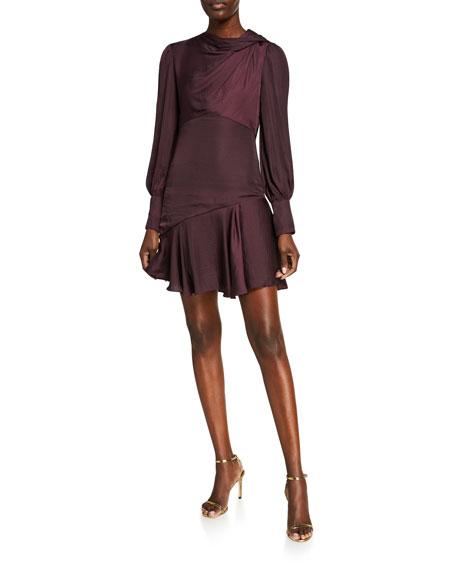 Ever New Long-Sleeve Mini Satin Drape Dress