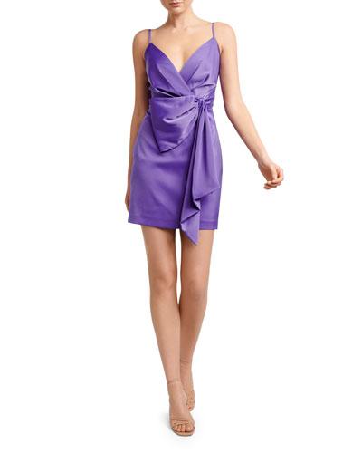 Lindsey Sleeveless Mock-Wrap Drape-Front Satin Dress