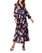 Ever New Floral Long-Sleeve Lace-Trim Maxi Dress