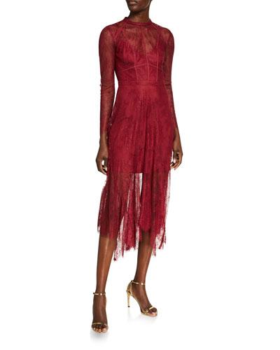 Long-Sleeve Godet-Hem Midi Lace Dress