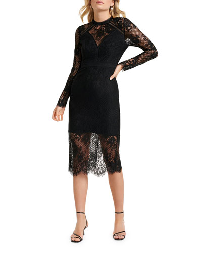 Long-Sleeve Lace Inset Illusion Midi Dress