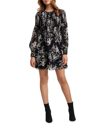 Floral Smocked Long-Sleeve Sheer Mini Dress
