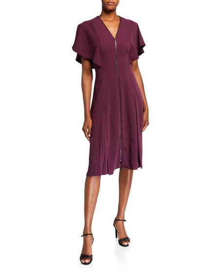 Ted Baker London V-Neck Flutter-Sleeve Zip-Front Midi Dress