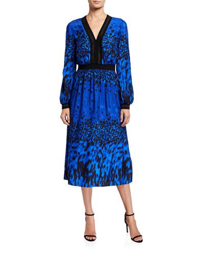 Topaz Printed Long-Sleeve Midi Dress