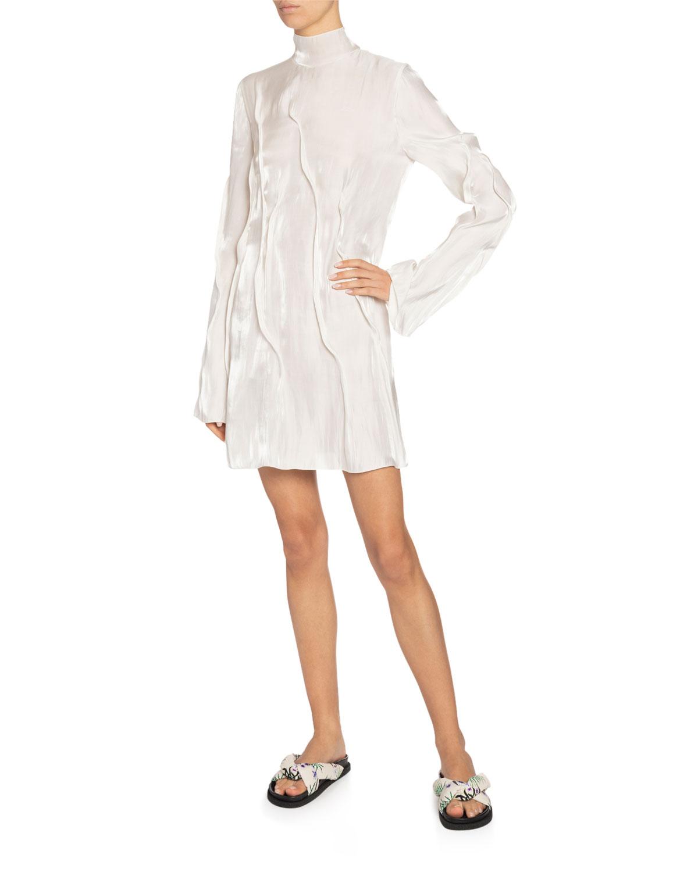 Kenzo Wavy Satin Turtleneck Mini Dress In Off White