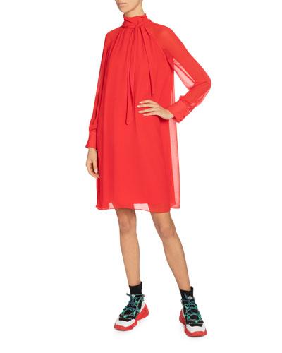 High-Neck Flared Tunic Dress