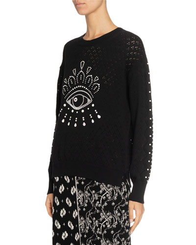 Beaded Eye Pointelle Pullover Sweater