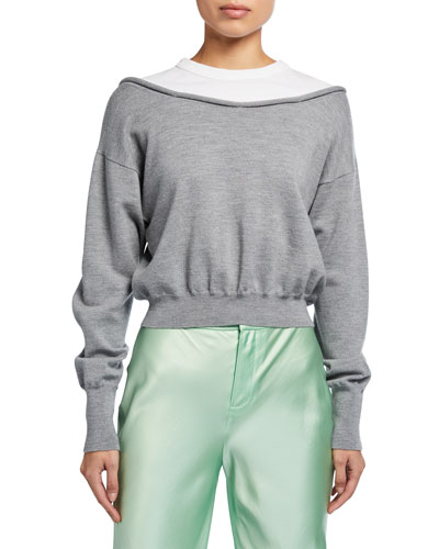 Peelaway Bilayer Cropped Long-Sleeve Pullover