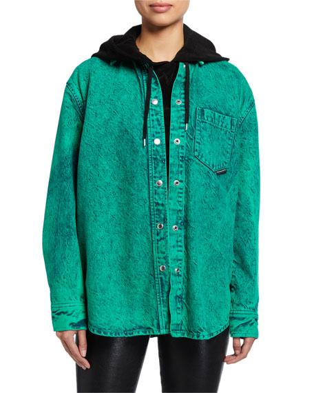 alexanderwang.t Oversized Acid Wash Button-Down Shirt
