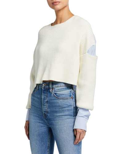 Ribbed Bilayer Cropped Pullover