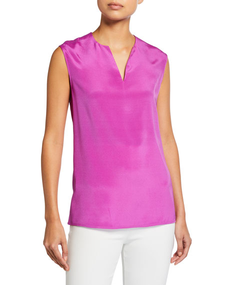 St. John Collection Stretch Silk Crepe de Chine Shell