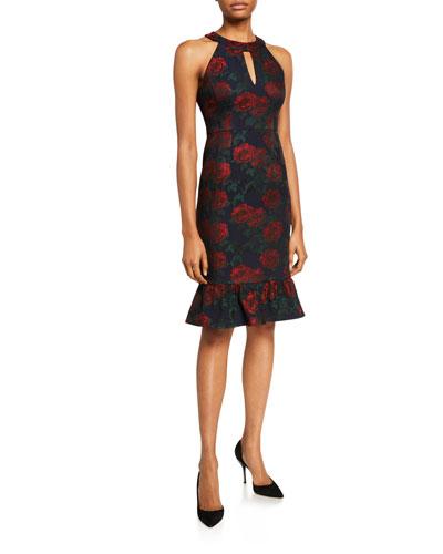 Rose Jacquard Halter Dress