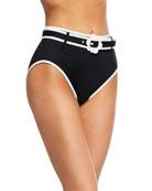 kate spade new york belted high-waist bikini bottom