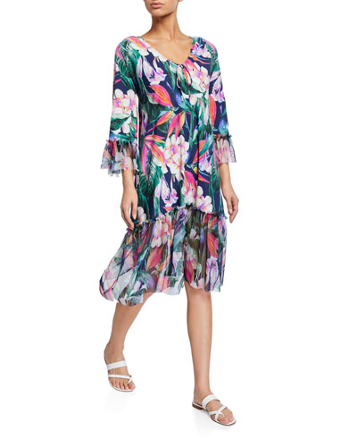 Zehra Floral Print 3/4-Sleeve Coverup Dress