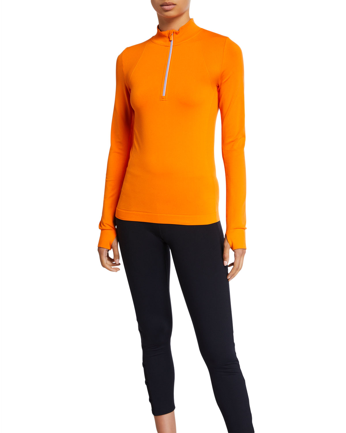 Tory Sport Tops SEAMLESS QUARTER-ZIP LONG-SLEEVE PULLOVER TOP
