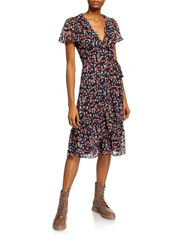 Floral Short-Sleeve Wrap Dress