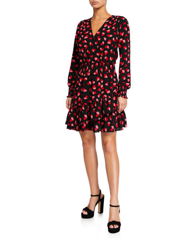 Printed Long-Sleeve Ruffle Wrap Dress