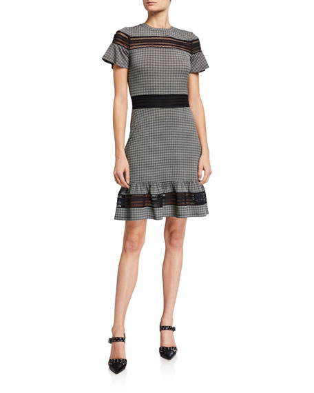 MICHAEL Michael Kors Cheeky Check Flounce-Hem Dress