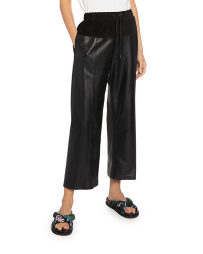 Leather Culotte Pull-On Pants