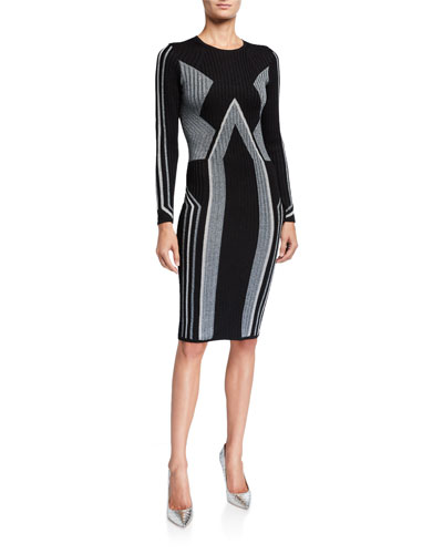 Graphic Block Long-Sleeve Knitted Bodycon Dress