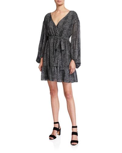 Snake-Print Blouson-Sleeve Wrap Dress