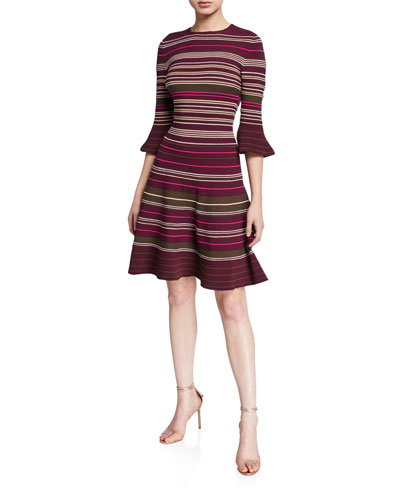 Striped Ottoman Knitted Bell-Sleeve Dress