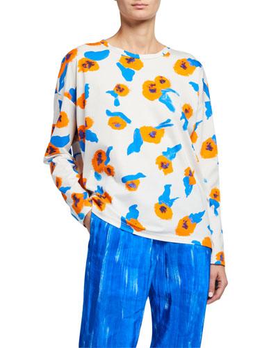Floral Print Long-Sleeve Jersey Shirt