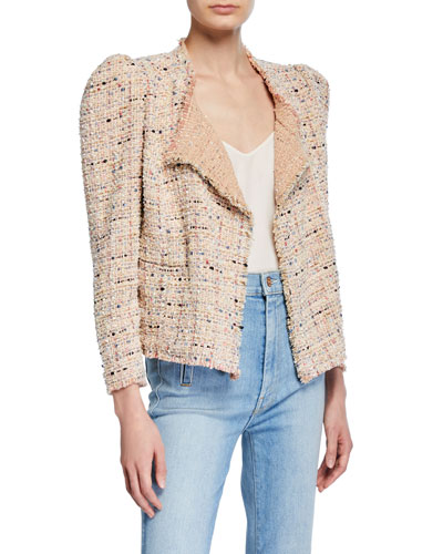 Cartaspe Puff-Sleeve Tweed Jacket