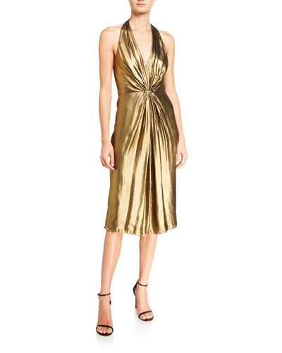 Foiled Georgette Ruched Halter Dress