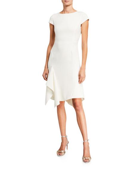 Halston Cap-Sleeve Asymmetric Flounce Skirt Dress