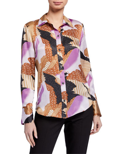 Sedienne Abstract Button-Down Silk Blouse