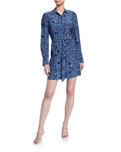 Rosalee Printed Long-Sleeve Short Dress