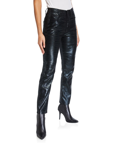Le Sylvie Slender Straight Crocodile Coated Jeans