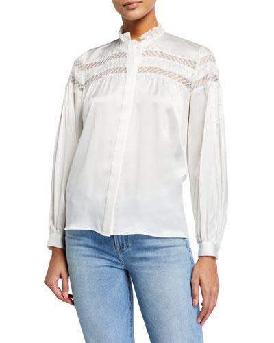 Paneled Lace Long-Sleeve Silk Blouse