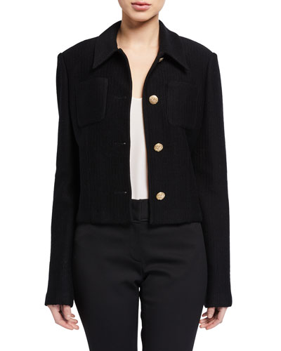 Collared Float Jacquard Jacket w/ Pockets & Back Yoke